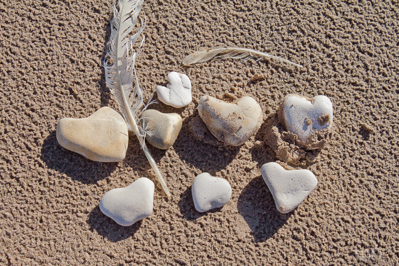8 Heart Stones found on the beach at White Park Bay