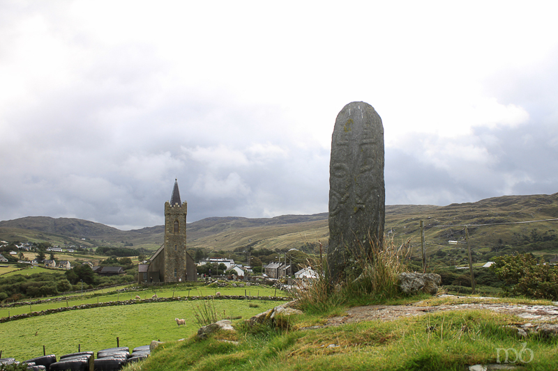 St. Columba's Church and standing stone at Glencolmcille