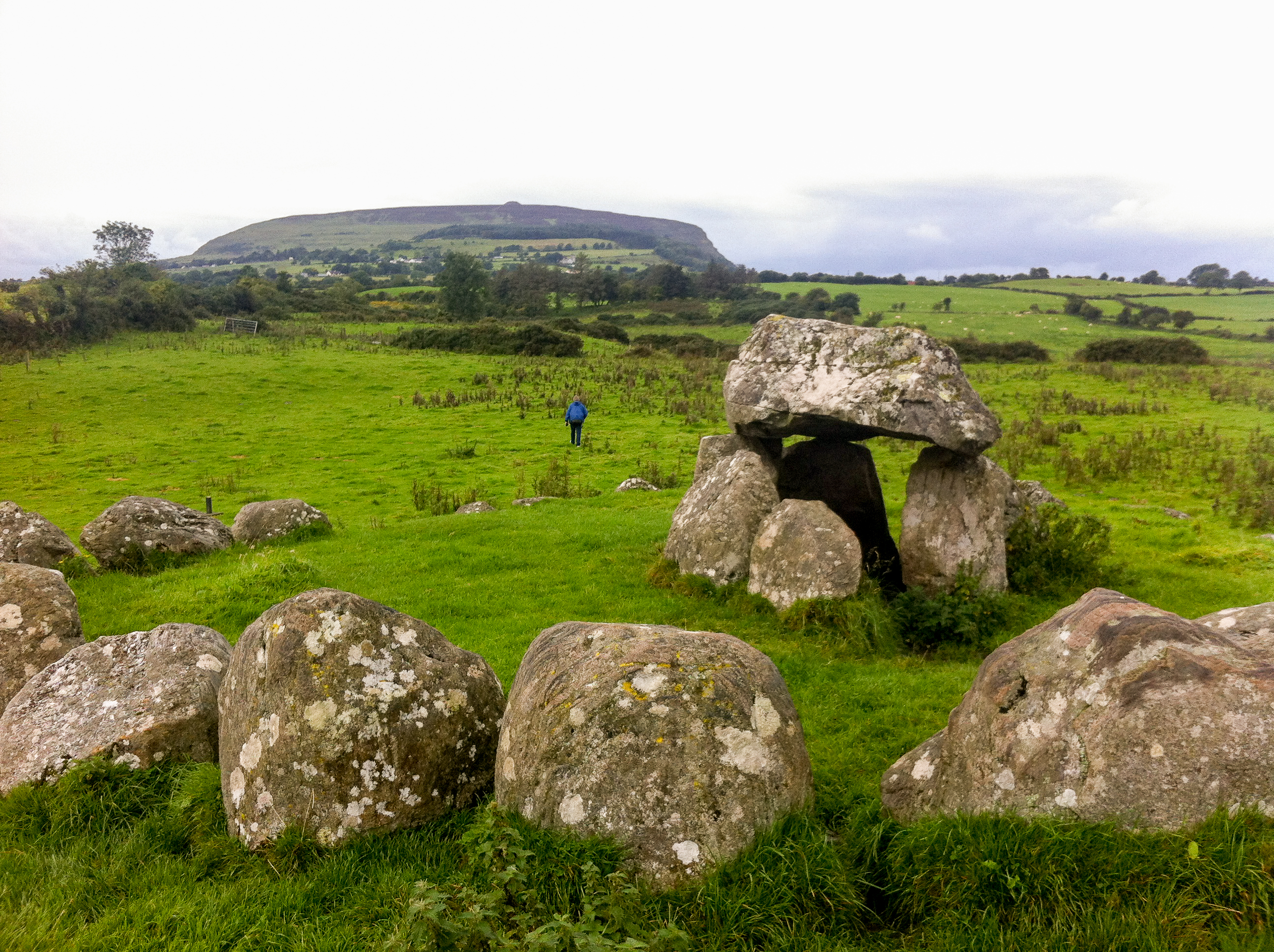 Carrowmore dolmens with Knocknarea in the distance.